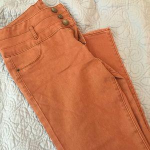 Denim - Rust High-Waisted Skinny Jeans